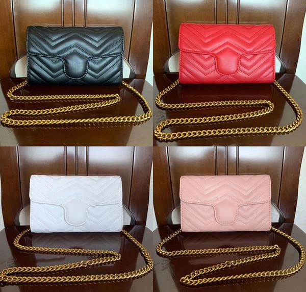 2019 New Classic Leather Lady Messenger Bags Fashion Love heart V Wave Pattern Satchel Women Shoulder Bag Chain Handbag Purse 20CM