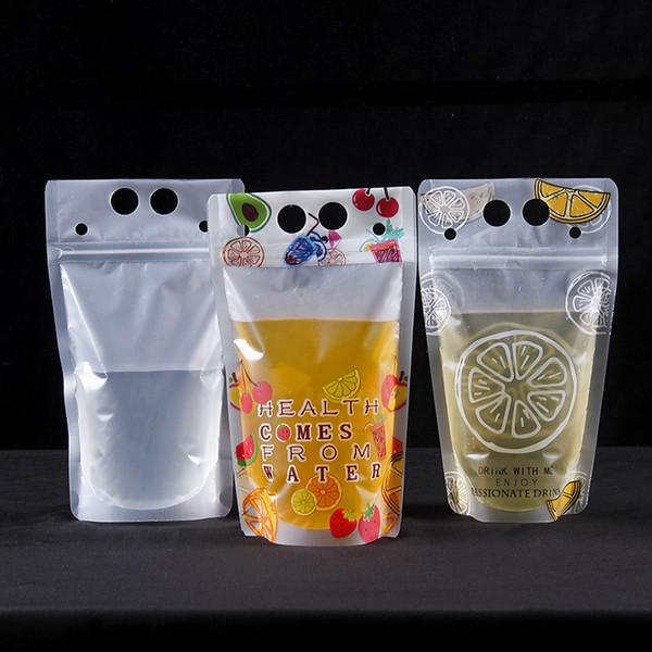 100 unids Transparente cremallera ziplock bolsa jugo leche té té para llevar bolsas de embalaje bolsa de plástico grueso con mango