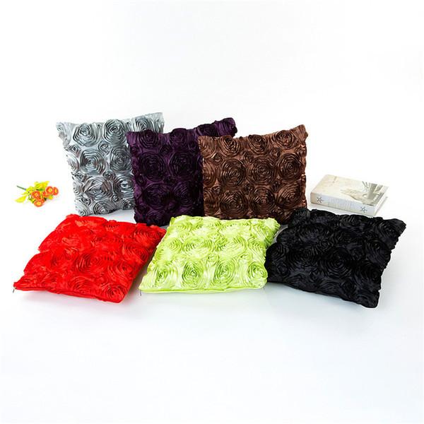 Comercio al por mayor 11 Colores Polyster Rose 40 * 40 cm Hogar Cojín Cubiertas Dormitorio Conjunto Regalos de Navidad Decoración Del Hogar Decoración Del Partido Artesanía