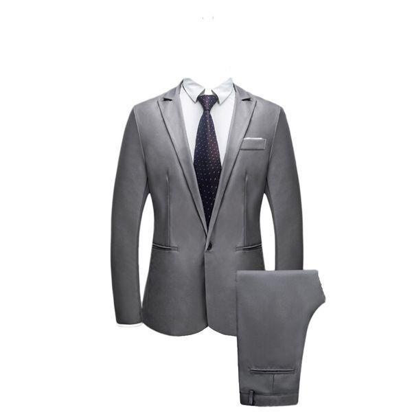 Suit Men With Pants For Wedding Slim Button Suit Pure Color Dress Blazer Trajes Hombre Vestir