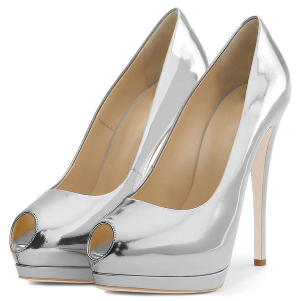 Arden Furtado primavera outono sapatos de salto alto da mulher 12 cm prata vermelho nude ouro deslizamento em estiletes tamanho grande plataforma peep toe bombas 43