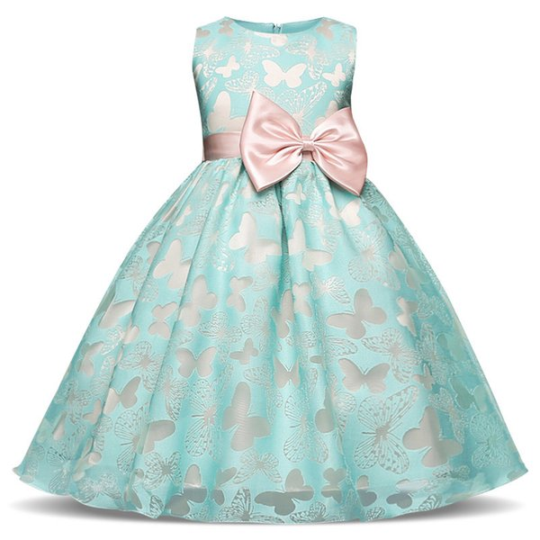 Fairy Fancy Butterfly Girl Dress Flower Wedding Dress Girl Party Wear Kids Clothes Children Costume For Girl Prom Gown Designs Y19061801