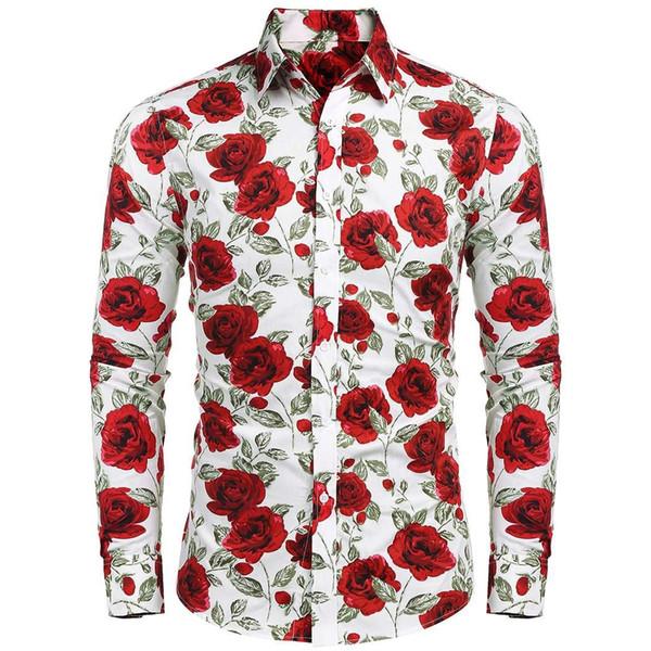 Erkekler Moda Retro Turn Down Yaka Uzun Kollu Çiçek Baskı Gömlek