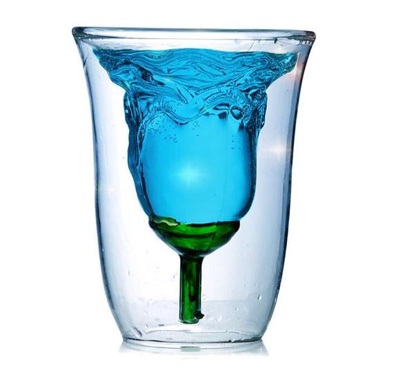 Creative Double Wall Design Rose Shape Cup Cocktail Champagne Glass Wine Cup Clear Coffee Mug Tea Beer Whisky Glass Mug Drinkware 180ML