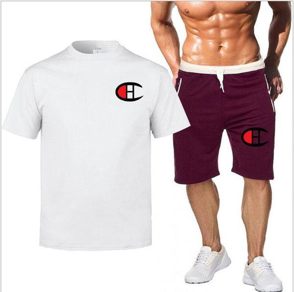 Sportanzug Männer 2019 Marke Fitness Anzüge Sommer 2 STÜCK Top Short Set Herrenmode 2 Stücke T-shirt + Shorts brief drucken Trainingsanzug