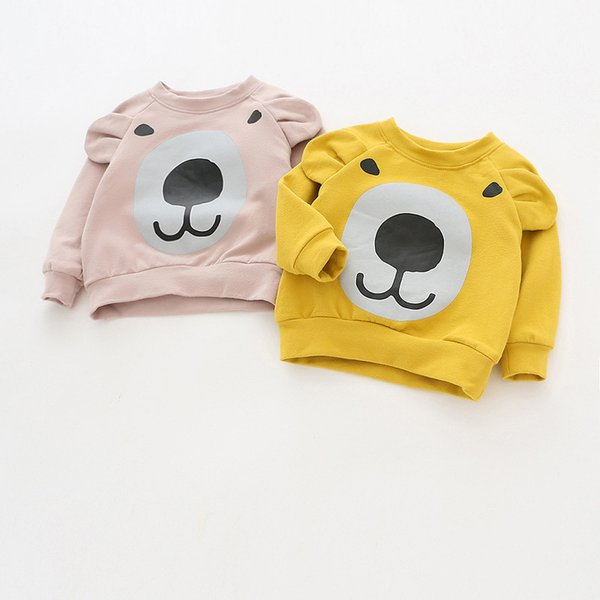 Children Brand Baby Girl Clothes 2019 Autumn New Girls Cotton Sweatshirt Long Sleeve Hoodies O-neck Bear Print with Ear T Shirt