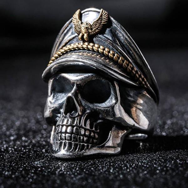 Hip Hop Vintage Skull Rings pour les hommes Accessoires Bijoux Gothic Party Style Punk Antique Silver Halloween Anneau Anillos Z5X291