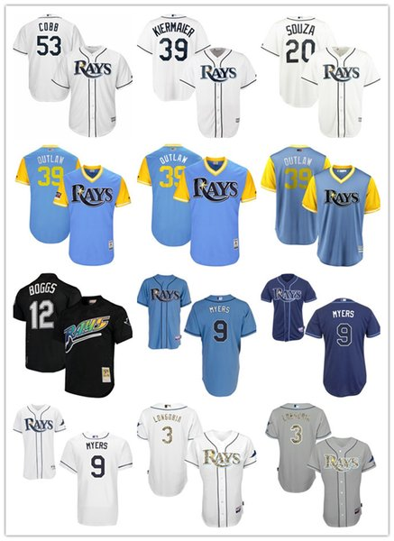 custom Men women youth TB Rays Jersey #3 Evan Longoria 10 Corey Dickerson 5 Matt Duffy Home Blue White Baseball Jerseys