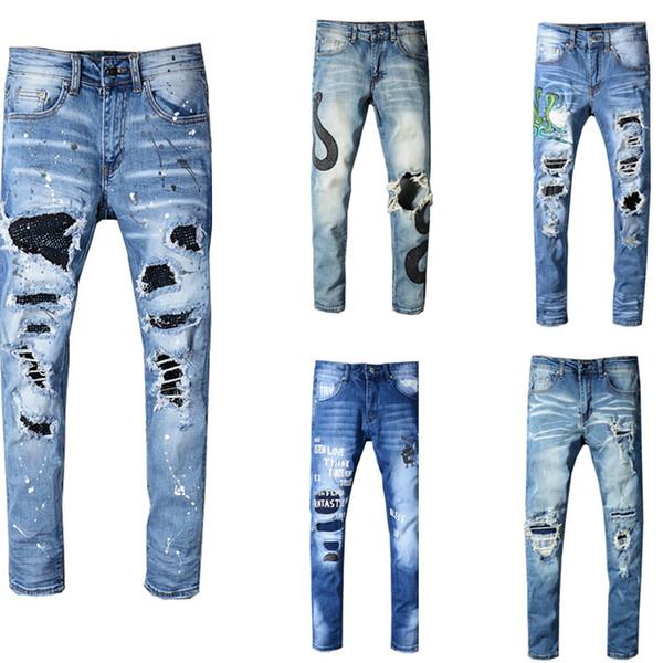 Ami de lujo NUEVA Moda Hip Hop Ripped Destroyed hombres Agujero vaqueros Biker Azul Costura a rayas Negro Parte inferior Cremallera lateral Jeans