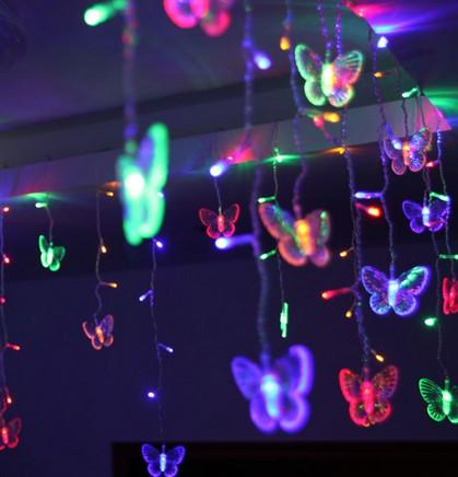 4M * 0.7M 100 LED Fairy Icicle LED Butterfly Curtain Light Outdoor Home Christmas Wedding Garden Decoration AC110V 220V