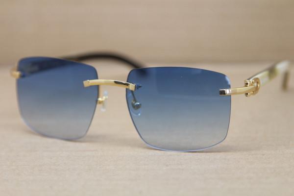 Lüks-Sıcak Çerçevesiz T8300816 Siyah Beyaz Manda Boynuzu Güneş Gözlüğü Erkek Kadın Marka tasarımcı Gözlük Çerçevesi Boyutu: 54-18-140mm