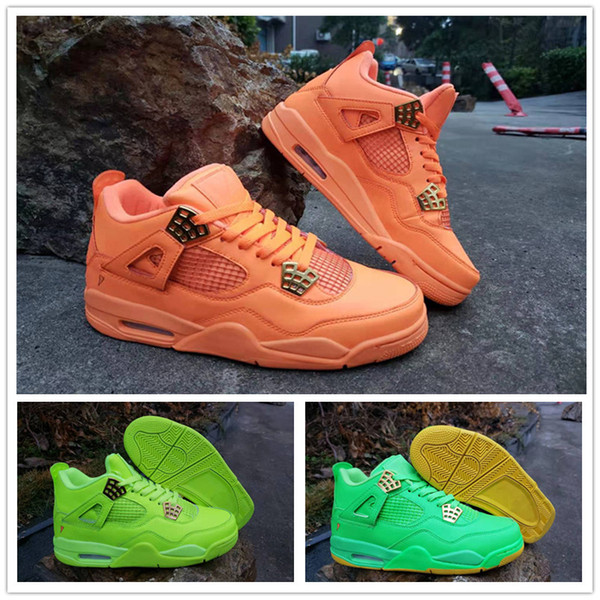 2019 Hot sale 4 IV Fluorescent Green Orange Men's Basketball Shoes for Best quality 4s Designer Sports Sneakers Trainers Size 41-47