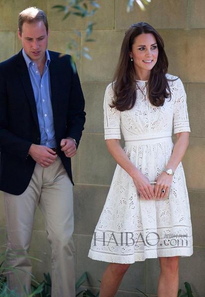 b067682fd7 Kate Middleton Moda Princesa Vestido elegante de algodón blanco bordado  Hollow Casual vestido de alta calidad venta