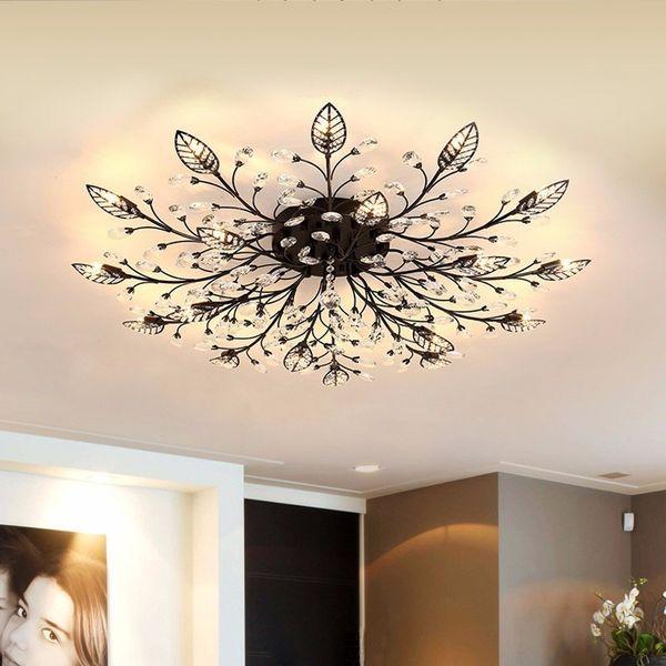Acheter Moderne K9 Cristal Led Encastré Plafonnier Lustre éclairage Luminaire Or Noir Maison Lampes Pour Salon Chambre Cuisine De 103 56 Du Cnmall