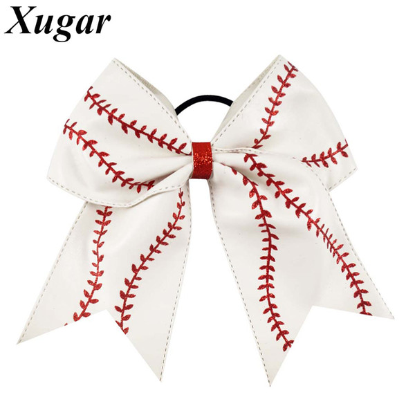 "7"" Leather Baseball Cheer Bow With Elastic Band Softball Hair Bow For Cheerleaders Girl Hair Accessories"