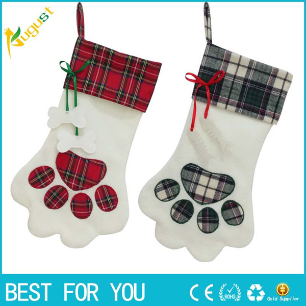 Hot Sale OurWarm Large Plaid Paw Snowflake Christmas Stocking for Dog Cat Christmas Gift Bags Xmas Tree Ornaments New Year Decoration