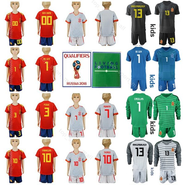 Spain Youth Soccer Jersey Sets Children 2019-2020 PIQUE BUSQUETS THIAGO DE GER CASILLAS Kids Football Shirt Kits With Short Pant