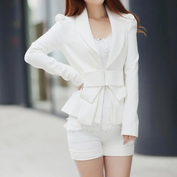 Women Slim Long Sleeve Small Suit Jacket Fashion White Ladies Suit Lining Office Normal Blazer OL Career Tops Bowknot