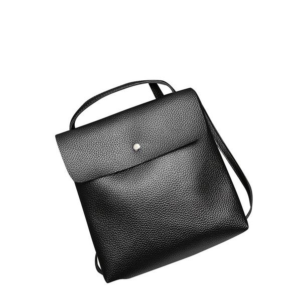 Women Lady Black Leather Satchel Shoulder Backpack School Rucksack Bags Travel Bagpack Zaini Donna Antirrobo #Zer