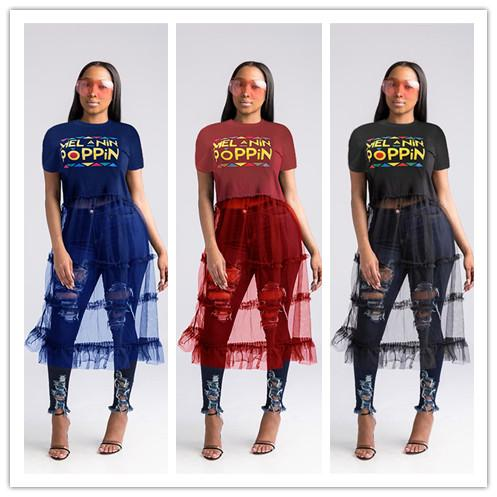 S-3XL POPPIN Letter Mesh Patchwork Dress for Women Ladies SHort Sleeve T shirt + Skirt One Piece Dresses Fashion Party Club Clothes C5904