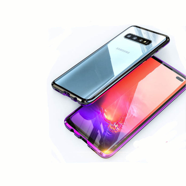 Full-body Protective Dual Layer Case for Samsung Galaxy S10 plus S10E Tempered Glass Metal Cover Built-in Screen Protector for Galaxy S9plus