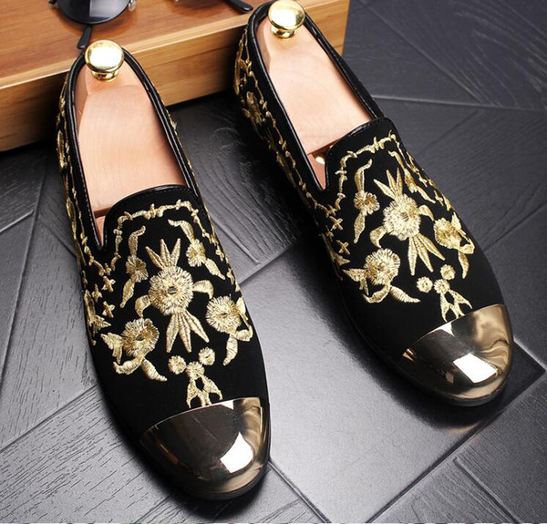 c4be740474be New Fashion Men Velvet Loafers Party wedding Shoes Europe Style gold  Embroidered Velvet Slippers Driving Moccasins