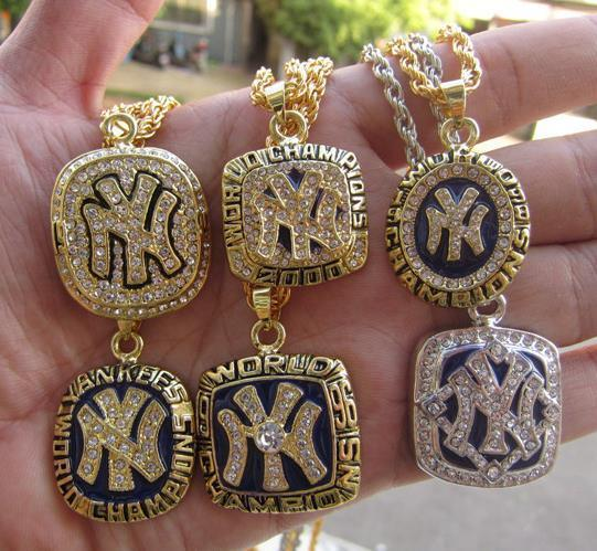 1977 1996 1998 1999 2000 2009 New York World Baseball Team Championship Ring Pendant Necklace With Chain Fan Men Gift