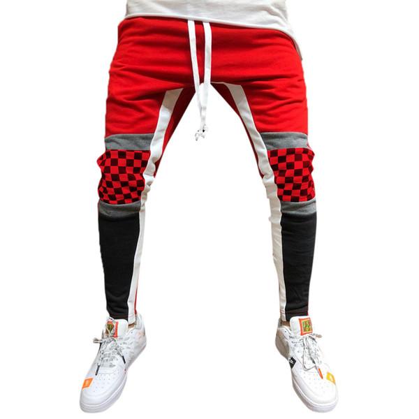Homens Sweatpants Casual Elastic Joggings Esporte Listrado Baggy Bolsos Calças moda pantalones hombre ropa de hombre 2018