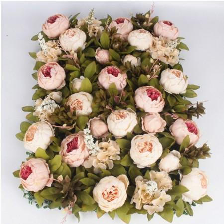 40*60cm Luxury customize silk peony artificial flower wall panel grass base DIY backdrop wedding arch decor flower wall art 2pcs