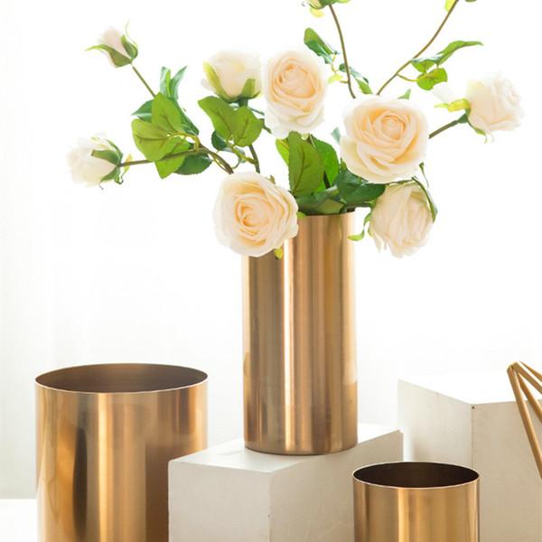 Moderno minimalista luz de lujo jarrón de oro sala de estar arreglo floral chapado de metal flor decoración de la mesa decoración