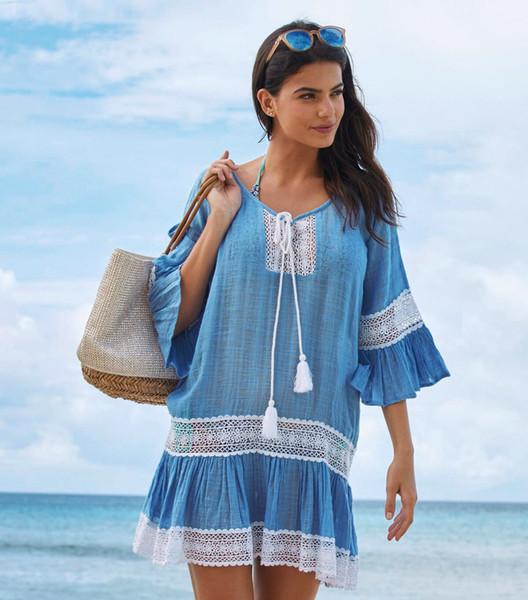 Frauen-Sommer-Sonnenschutz-Abdeckungs-Entwerfer-Kleidungs-V-Ausschnitts-lange Hülsen-Strand-Kleid-Art- und Weiseböhmisches beiläufiges Kleid