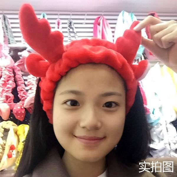 HOT SELL FREE Japanese Christmas milu antlers soft hair band wash face makeup hair band cute antler elastic headband
