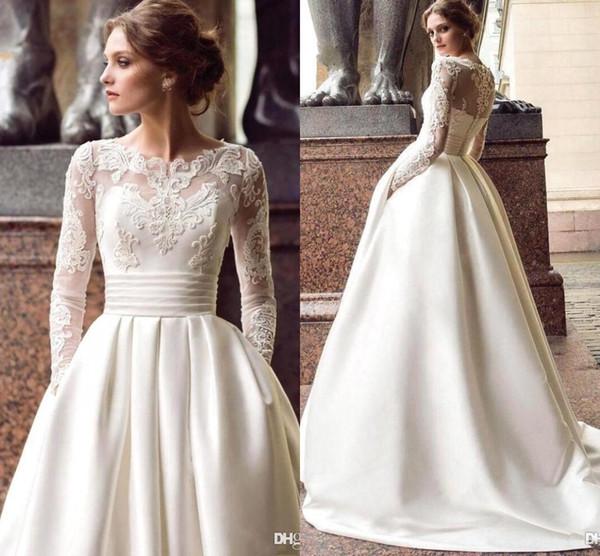 Vintage raso dell'avorio Appliqued merletto Bateau lunghi abiti da sposa Maniche Lusso Plus Size Bridal Gown Vestios De Novia