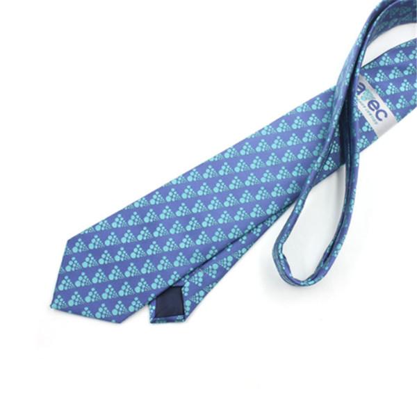 Cravate formelle en polyester de haute qualité pour hommes Dot Motif Fan Accessoires de mode Bleu Couleur Gentleman Cravates Élégantes