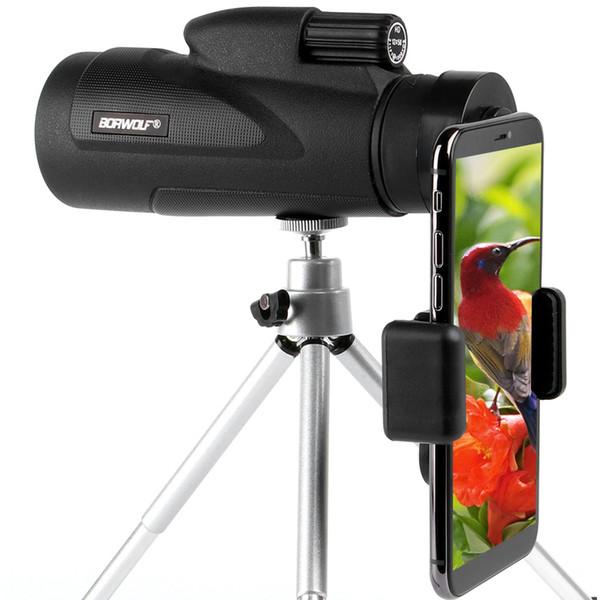 Borwolf 12x50 Telescopio Monoculare Hd Visione Notturna Bak4 Prisma Scope Con Clip da Telefono Treppiede Impermeabile Binocolo Per Caccia T190627
