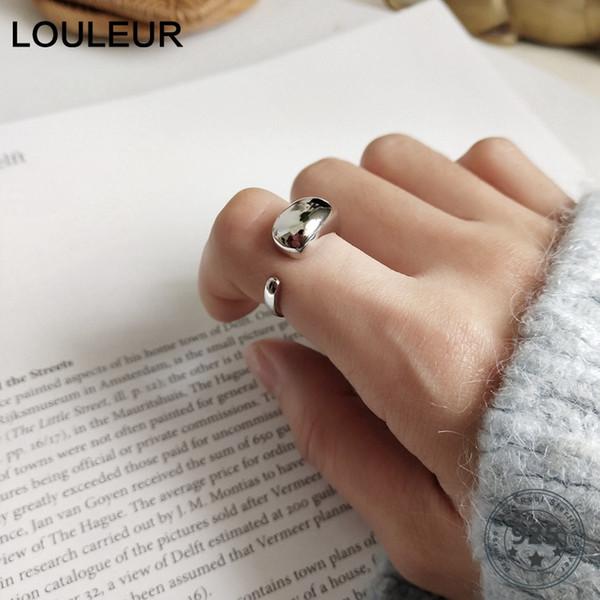 LouLeur стерлингового серебра 925 большой капли воды глянцевые кольца серебро элегантный личность открытые кольца для женщин изысканные ювелирные изделия для очарования