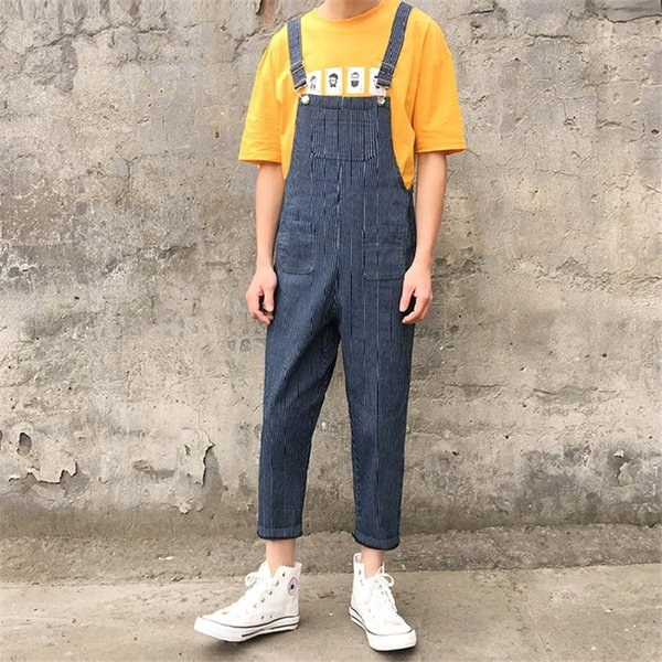 Korean Fashion Hip Hop Style Suspender Pants Youthful Casula Wild Overalls Trend Mens Bib Jeans Size S-2XL