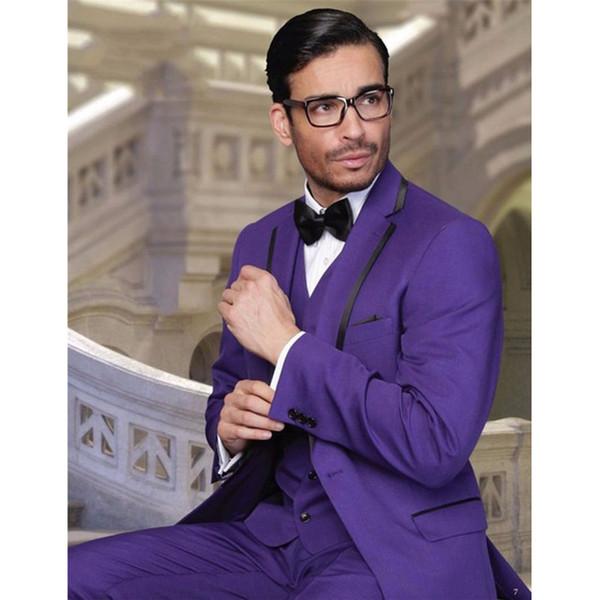 Custom Made Groomsmen Notch Lapel Groom Tuxedos Purple Men Suits Wedding Best Man Blazer (Jacket+Pants+Tie+Vest)