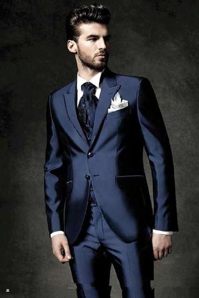 Stile classico Due bottoni Shiny blu scuro Smoking dello sposo Risvolto Groomsmen Best Man Blazer Mens Abiti da sposa (Giacca + Pantaloni + Vest + Tie)