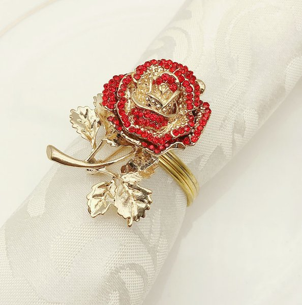 diamant rond de serviette 10PCS rose bague tissu bar de fournitures de fête de l'hôtel de bijoux de mariage de serviette