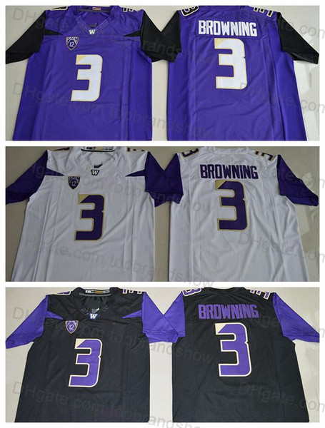 buy popular a1938 35c26 2019 Washington Huskies Mens 3 Jake Browning Jersey Stitched Purple Black  White Jake Brownin College Football Jerseys University Football Shirts From  ...