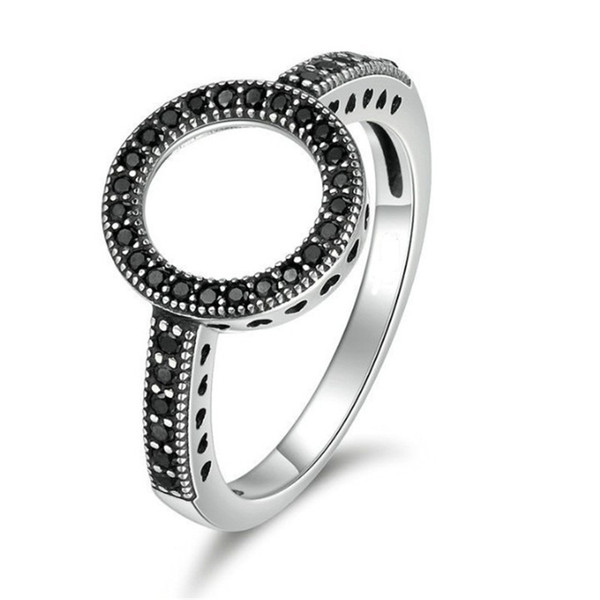 Fashion Female Round Rings For Women Lover Wedding Jewelry Party Trendy White Gold Plated White Black Zircon Ring SJ