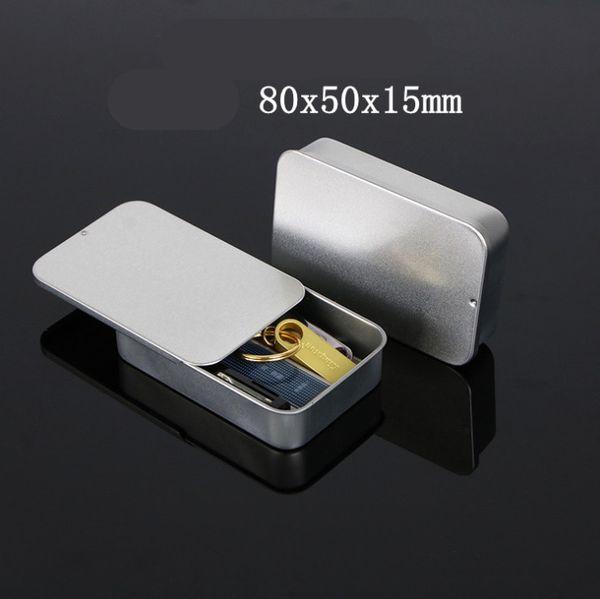 2019 New 80*15*50mm Rectangular slide cover Mini iron box, storage box wedding Jewelry Pill Cases mint tin boxes