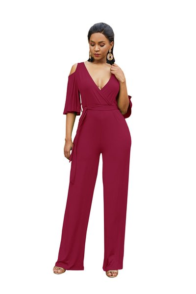 in stock Summer Beautiful Youth Look Rompers Women Fashion Show Shoulder Loose Slim Casual Pants Jumpsuits