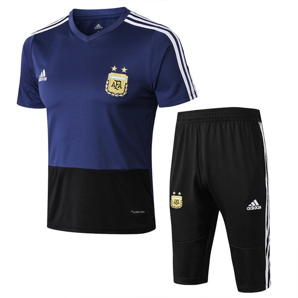 wholesale high quality new season 18 19 Argentina blue tracksuits Messi sportwear 2018 2019 soccer jersey Agüero outdoor short sleeve