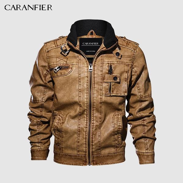 CARANFIER Мужские кожаные куртки мотоцикла Стенд воротник молния Карманы Мужчины США Размер PU пальто Biker Кожезаменитель Мода Верхняя одежда