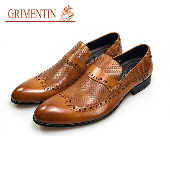 2019GRIMENTIN oxfords mode chaussures habillées pour hommes chaussures en cuir véritable orange formel