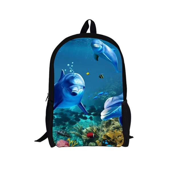 Customized 3D Dolphin Fish Children School Backpack for Student Kids Teenager Satchel Mochilas Escolar Girls Women Rucksack