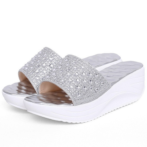 Women Summer Luxury Shiny Rhinestone Slides Flip Flops Thong Toe Ring Wedge High Platform Slipper Shoes Plus Size 35-39 3144