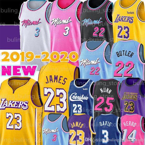 top popular Miami Dwyane 3 Wade Heat Jerseys LeBron 23 James Jimmy 22 Butler NCAA Tyler 14 Herro Kendrick 25 Nunn Anthony 3 Davis Basketball 2019